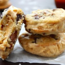 salted caramel chocolate chip cookie ice cream sanwiches