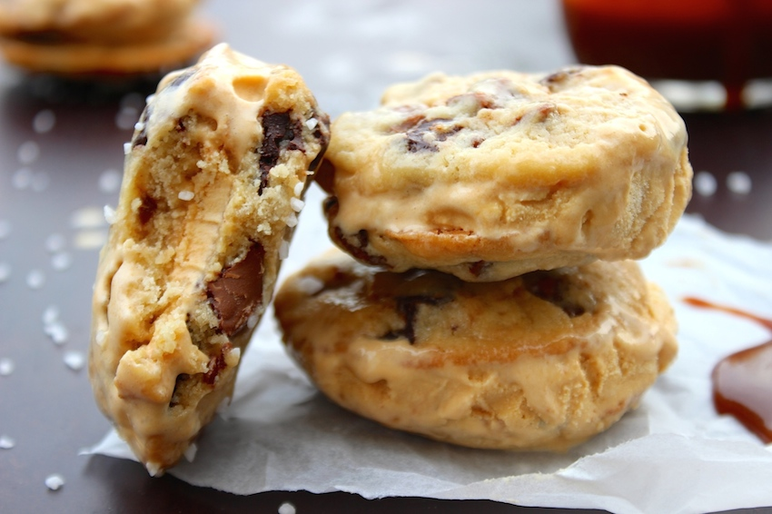 Salted Caramel Chocolate Chip Cookie Ice Cream Sandwiches ...
