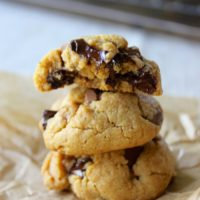 soft and thick brown butter peanut butter chocolate chunk cookies