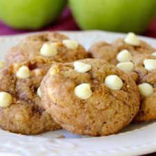 soft, cinnamon flavored cookies studded with apple and white chocolate bits. Everything you love about fall in a cookie!