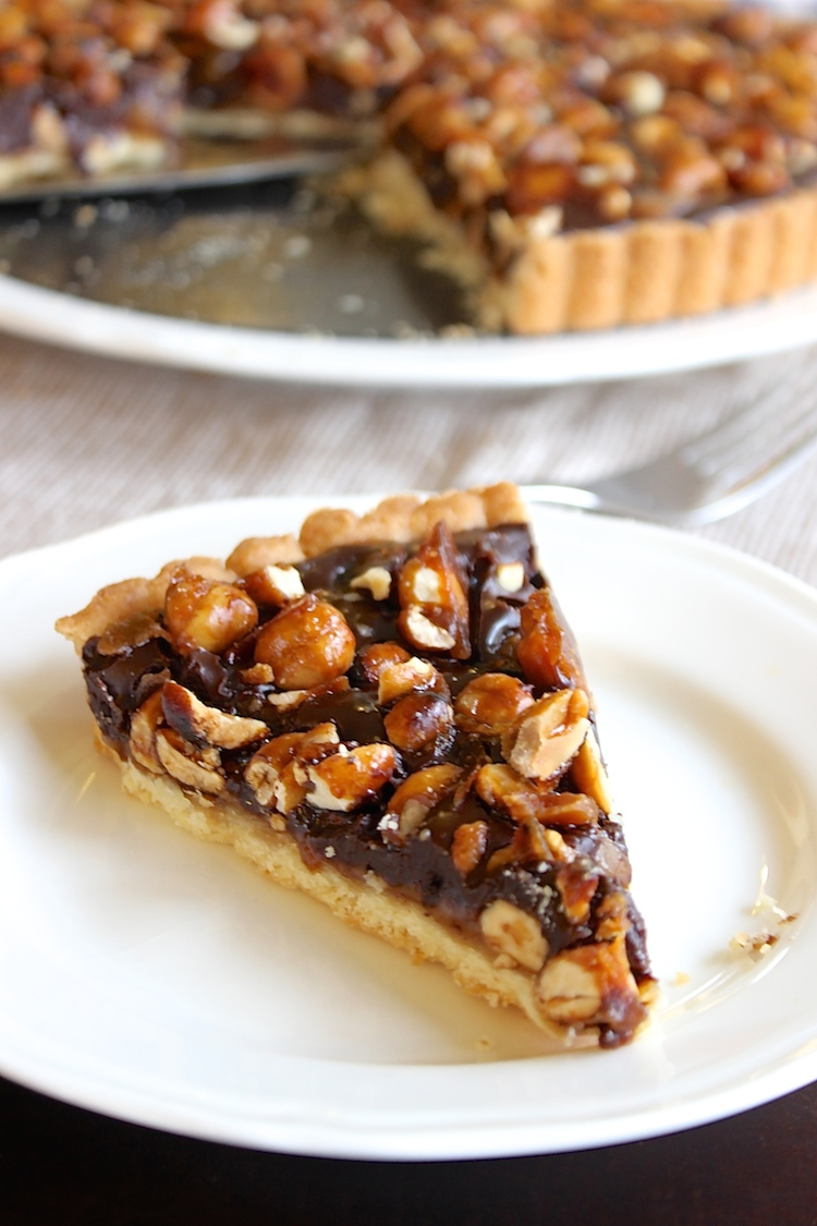 It's been called the best dessert ever. A tart layered with salted caramel, chocolate and caramelized peanuts and hazelnuts. YUUUUUMMM. Perfect for Thanksgiving!