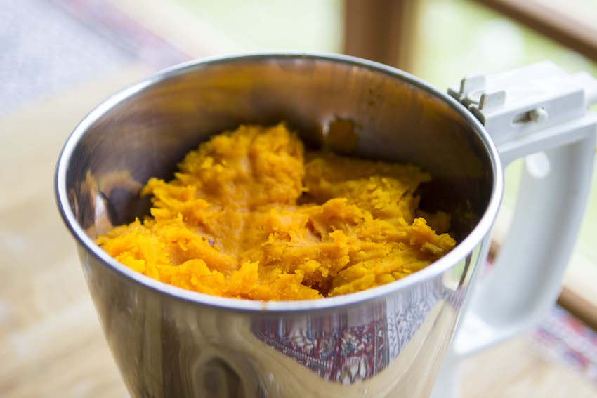 For my own pumpkin purée, I like to use a Hokkaido pumpkin. It's small, with a blood-orange exterior and a vibrant orange interior. Perfectly sweet and perfectly perfect for purée. I generally think that smaller pumpkins retain the most flavor and sweetness, so a sugar pumpkin is great too.