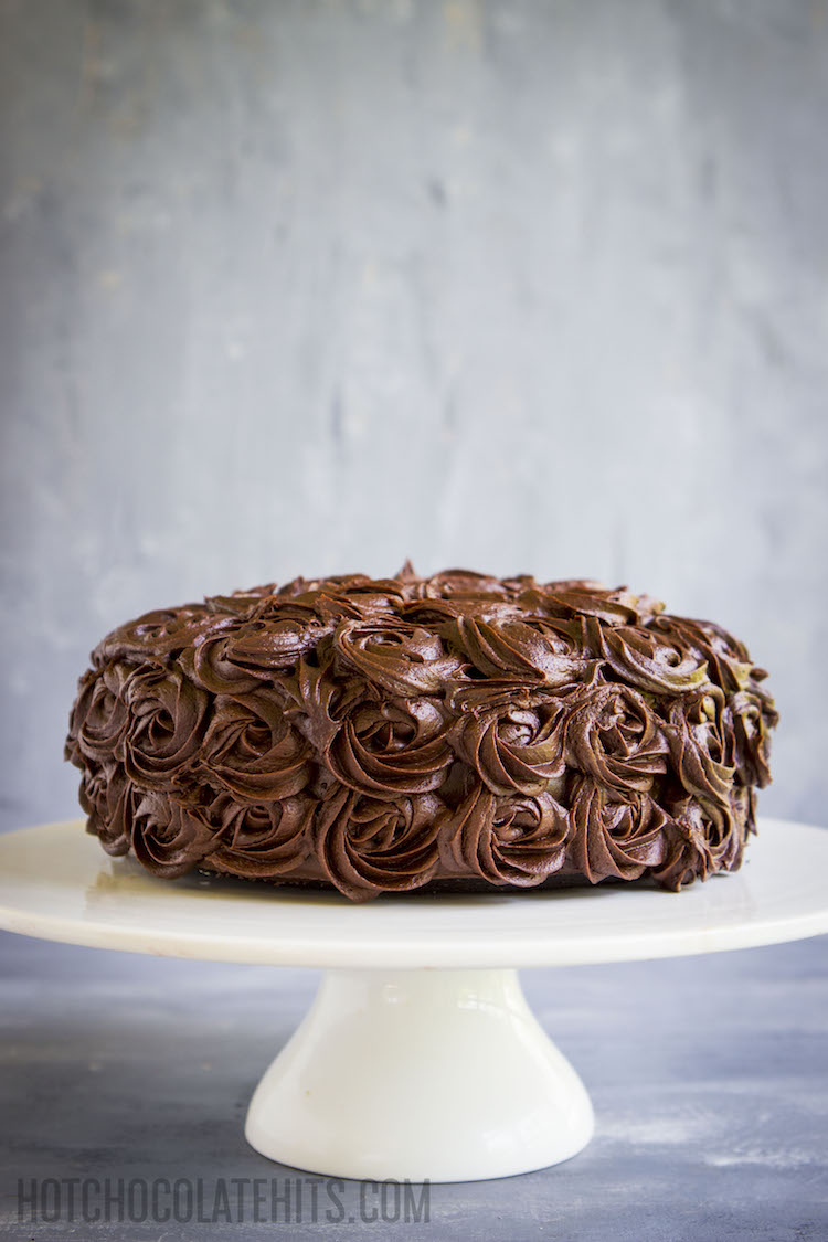 a dark, decadent vegan chocolate cake