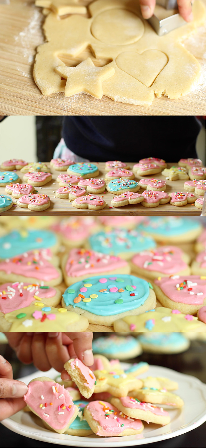 Soft sugar cookies paired with vanilla icing and topped with sprinkles.
