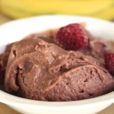 banana, raspberry chocolate ice cream