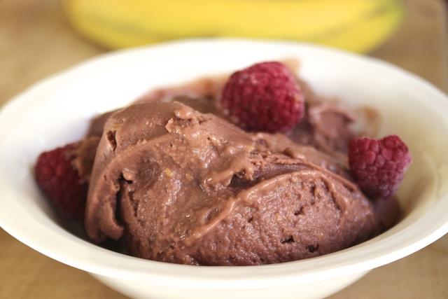 banana, raspberry chocolate  ice cream