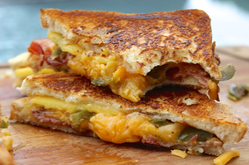 bacon, jalapeño and peach grilled cheese sandwich