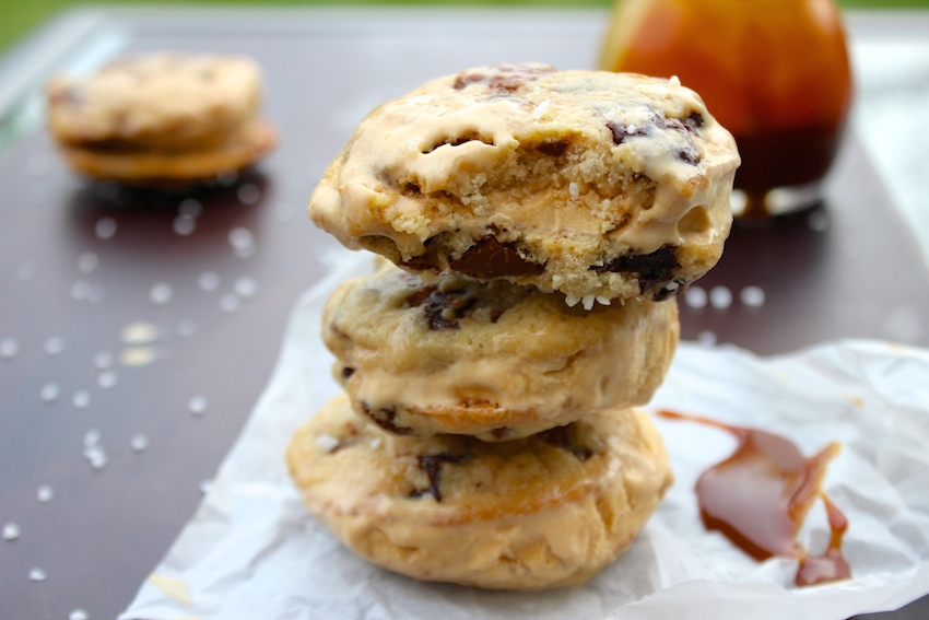 salted caramel chocolate chip cookie ice cream sandwiches