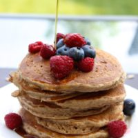 healthier oatmeal cookie pancakes by hotchocolatehits.com #pancakes #healthy #oatmeal