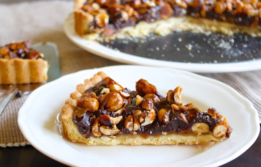 It's been called the best dessert ever. A tart layered with salted caramel, chocolate and caramelized peanuts and hazelnuts. YUUUUUMMM. Thanksgiving is ON!