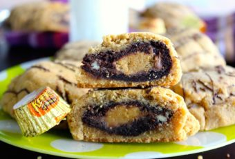 The ultimate cookie: A reese's stuffed, brownie stuffed peanut butter cookie- the only dessert you'll ever need.