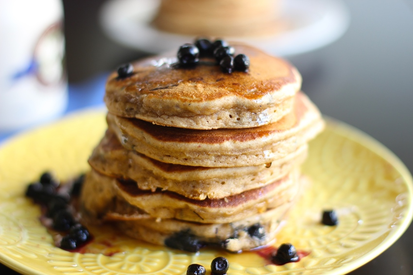 fluffy blueberry pancakes that just happen to be healthy.