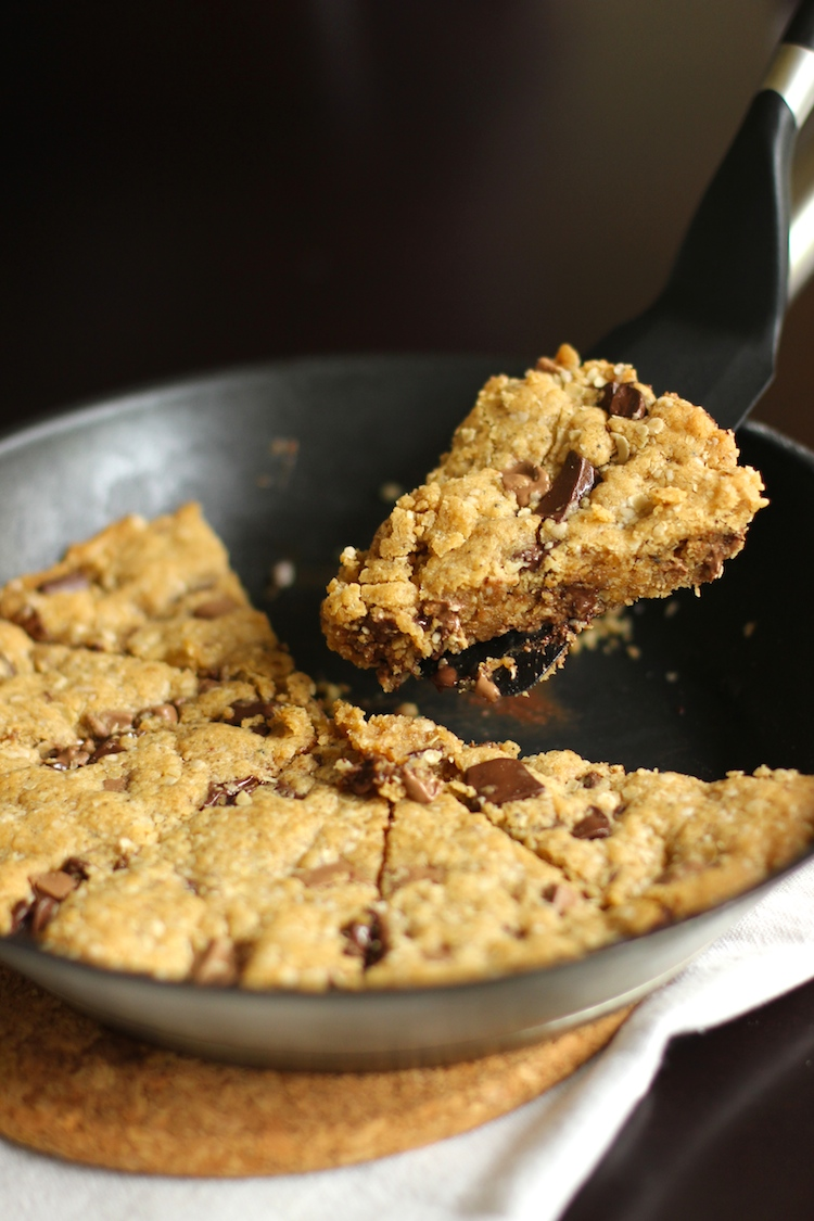 A decadent browned butter peanut butter chocolate chip pan cookie all made in one pan! Can't get easier (and tastier!) than this.