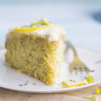 Poppy Seed Lemon Cake with Cream Cheese Frosting