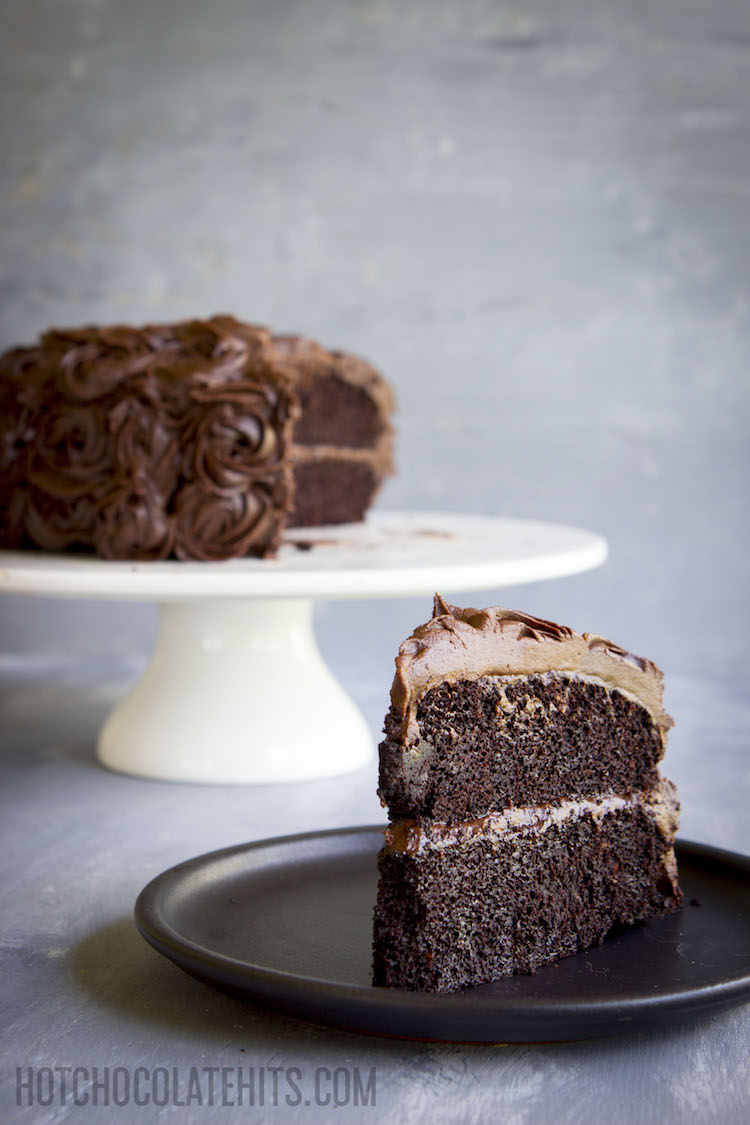 a slice of dark, decadent vegan chocolate cake