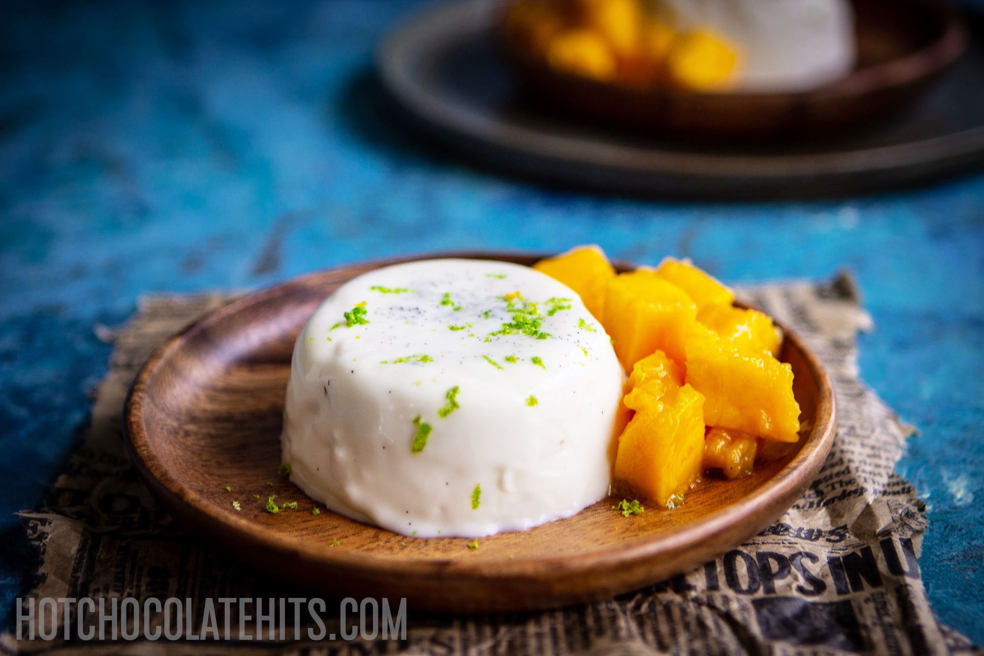 coconut panna cotta with mango and lime