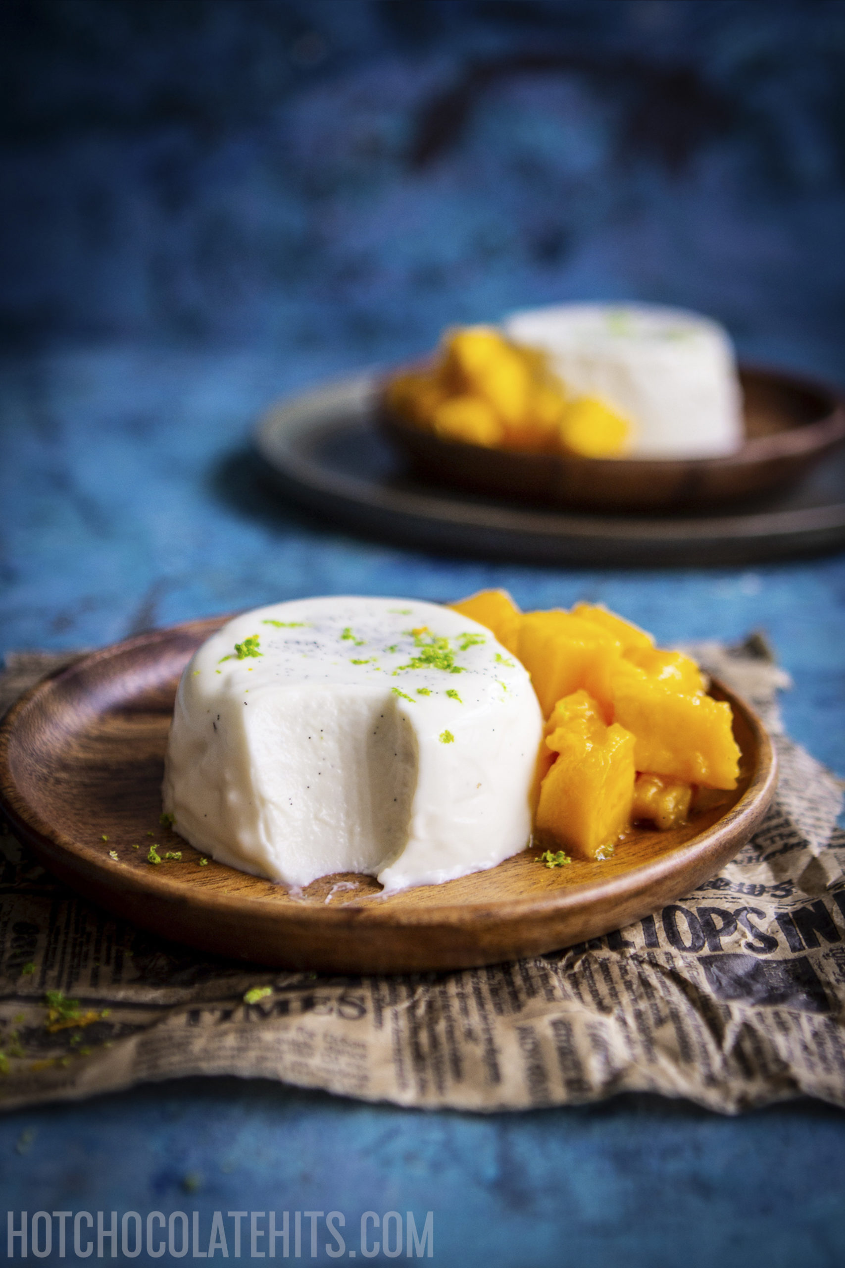 coconut panna cotta with lime and mango