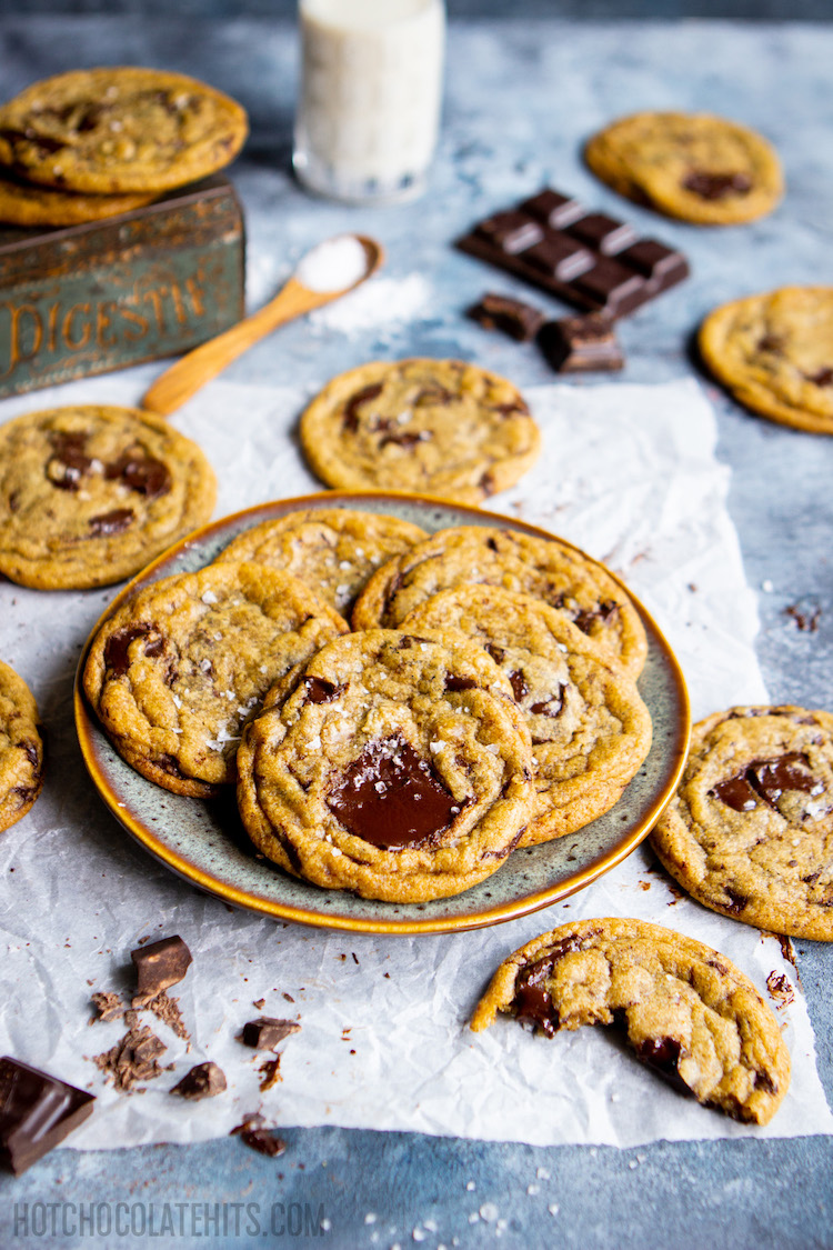 soft, chewy vegan chocolate chip cookies on a plate.